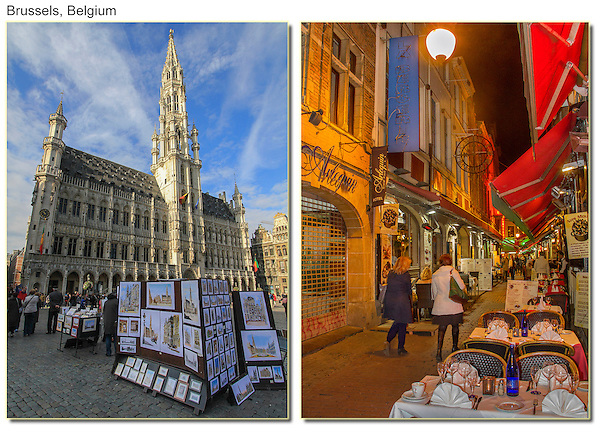 The Grand Place (left), Brussels, Belgium.
