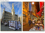 Belgium, Brussels.  <br /> A beautiful sky adds greatly to this photo of the Grand Place (left). Forget the tripod and use a high sensitivity setting (like 2000) to be mobile and creative. Brussels, Belgium.