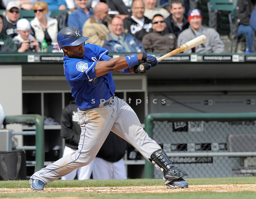 JOSE GUILLEN, of the Kansas CIty Royals, in action  during the Royals  game against the Chicago White Sox  on April 8, 2009 in Chicago, IL.  The Royals  beat  the White Sox  2-0 in Chicago,