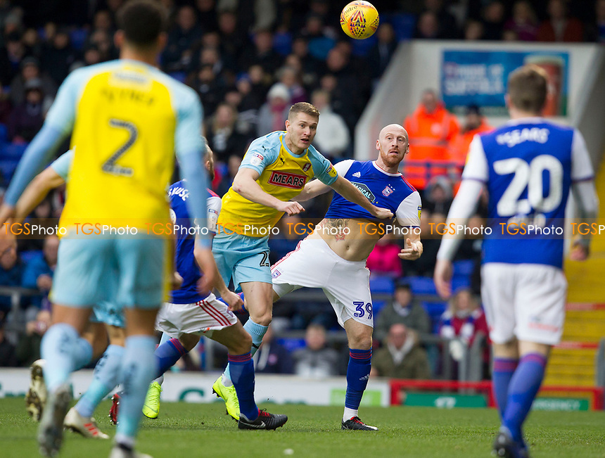 James Collins of Ipswich Town makes his presence known and clearsduring Ipswich Town vs Rotherham United, Sky Bet EFL Championship Football at Portman Road on 12th January 2019
