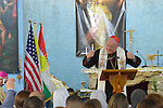 Cardinal Timothy Dolan, the archbishop of New York and chair of the Catholic Near East Welfare Association, speaks during Mass in Inishke, Iraq, on April 10, 2016. Cardinal Dolan came to Iraqi Kurdistan with other church leaders to visit with Christians and others displaced by ISIS. Along with other church leaders, he celebrated Mass in the village's Chaldean Catholic church with local residents and displaced Christians living in local villages.<br /> <br /> CNEWA is a papal agency providing humanitarian and pastoral support to the church and people in the region.