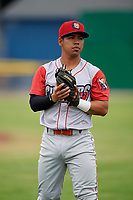 Williamsport Crosscutters second baseman Jesus Azuaje (3) warms up before a game against the Batavia Muckdogs on June 22, 2018 at Dwyer Stadium in Batavia, New York.  Williamsport defeated Batavia 9-7.  (Mike Janes/Four Seam Images)