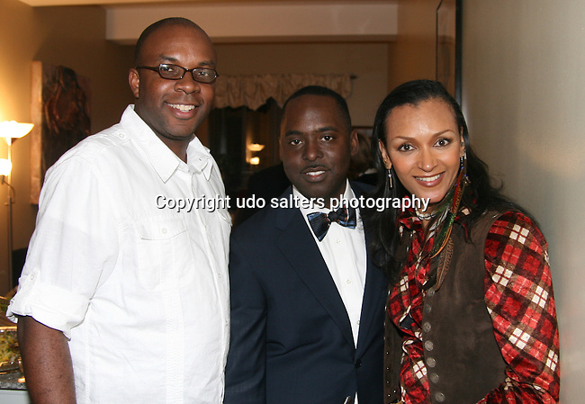 Chef Ricky Moore, Etu Evans and Photographer Deloris Henderson attend Celebrity Shoe Designer & Philanthropist Etu Evans' Birthday Celebration, New York, Friday, February 5, 2010
