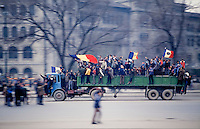 December 26, 1989. Bucharest, Rumania. The Rumanian flag with a hole instead of Communist insignia soon became the symbol of the revolution. (Photo Heimo Aga)