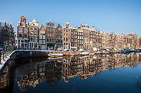 Netherlands,  Amsterdam, de Jordaan<br /> <br /> Singel gracht. in winterlight.<br /> <br /> Photo Kees Metselaar