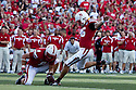 10 Sept 2011: Brett Maher #96 of the Nebraska Cornhuskers kicks a field goal against the Fresno State Bulldogs at Memorial Stadium in Lincoln, Nebraska. Nebraska defeated Fresno State 42 to 29.