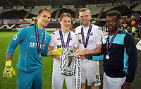 Pictured: (L-R) Gregor Zabret, George Byers, Oliver McBurnie and Botti Biabi of Swansea City Monday 15 May 2017<br />Re: Premier League Cup Final, Swansea City FC U23 v Reading U23 at the Liberty Stadium, Wales, UK
