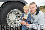 If they aint Turnin, they aint Earnin.<br /> ----------------------------------------------<br /> Little David McCarthy with his dad Ryan from Lissellton, checking out the gleaming alloy wheels of a brand new Scania at the Truck Run for Cystic Fibrosis at the Rose hotel, Tralee last Saturday.