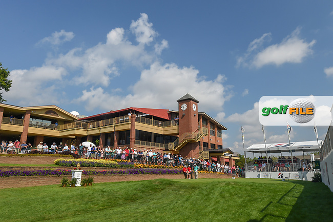 A wide shot of the first tee during 3rd round of the World Golf Championships - Bridgestone Invitational, at the Firestone Country Club, Akron, Ohio. 8/4/2018.<br /> Picture: Golffile | Ken Murray<br /> <br /> <br /> All photo usage must carry mandatory copyright credit (© Golffile | Ken Murray)