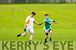 St Brendan's Scott Ryan tries to prevent Keelan O'Donoghue of Castleisland driving the ball up the field when the sides met in the U14 County Championship semi final last Friday evening in Na Gael GAA ground, Tralee.