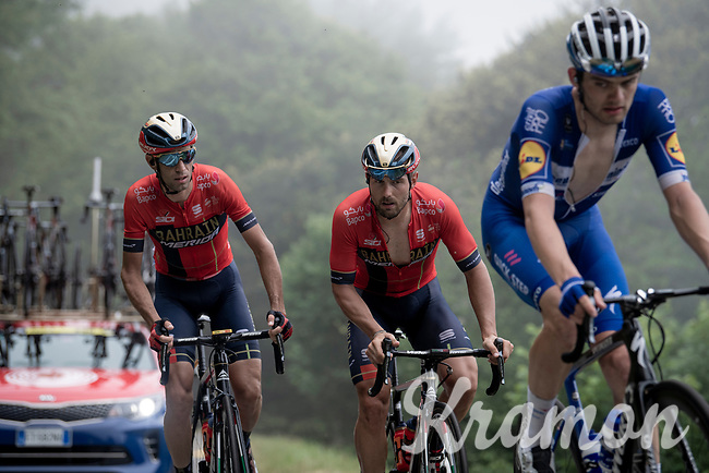 Vincenzo Nibali (ITA/Bahrain-Merida) not waisting any energy today as he is coming up way behind the race leaders & in the company of the team's sprinter Sonny Colbrelli (ITA/Bahrain-Merida) up the very steep section (+16%) of the Mur de Péguère (Cat1/1375m/9.3km/7.9%)<br /> <br /> Stage 15: Limoux to Foix (185km)<br /> 106th Tour de France 2019 (2.UWT)<br /> <br /> ©kramon