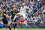 Alvaro Morata of Real Madrid shoot for scoring a goal during the match of La Liga between Real Madrid and RCE Espanyol at Santiago Bernabeu  Stadium  in Madrid , Spain. February 18, 2016. (ALTERPHOTOS/Rodrigo Jimenez)
