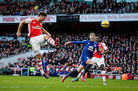 01.03.2015.  London, England. Barclays Premier League. Arsenal versus Everton.  Arsenal's Olivier Giroud gets a header on goal