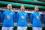 01.05.2019, RheinEnergie Stadion , Köln, GER, 1.FBL, Borussia Dortmund vs FC Schalke 04, DFB REGULATIONS PROHIBIT ANY USE OF PHOTOGRAPHS AS IMAGE SEQUENCES AND/OR QUASI-VIDEO<br /> <br /> im Bild | picture shows:<br /> (vl) Pia-Sophie Wolter (VfL Wolfsburg #20), Sara Doorsoun (VfL Wolfsburg #23) und Kristine Hegland-Minde (VfL Wolfsburg #19) nehmen zunächst aud der Bank platz, <br /> <br /> Foto © nordphoto / Rauch