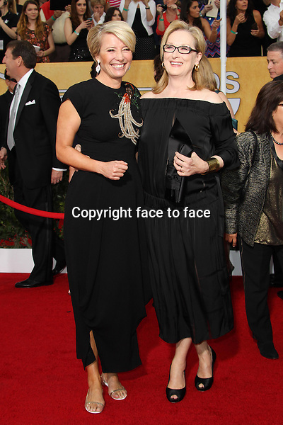 LOS ANGELES, CA - JANUARY 18: Emma Thompson, Meryl Streep attending the 2014 SAG Awards in Los Angeles, California on January 18, 2014.<br /> Credit: RTNUPA/MediaPunch<br />