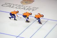 SPEEDSKATING: CALGARY: Olympic Oval, 02-12-2017, ISU World Cup, Team Pursuit Ladies, Marrit Leenstra (NED), Lotte van Beek (NED), Antoinette de Jong (NED), ©photo Martin de Jong