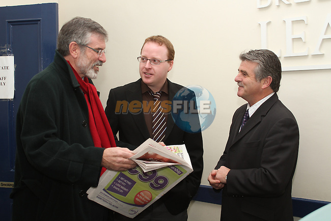 Sinn Fein President Gerry Adams in the Drogheda Leader Office with Arthur Morgan and Ian Watters after announcing he is to seek his party's nomination in the Louth constituency for the next general election...(Photo credit should read Jenny Matthews www.newsfile.ie)....This Picture has been sent you under the condtions enclosed by:.Newsfile Ltd..The Studio,.Millmount Abbey,.Drogheda,.Co Meath..Ireland..Tel: +353(0)41-9871240.Fax: +353(0)41-9871260.GSM: +353(0)86-2500958.email: pictures@newsfile.ie.www.newsfile.ie.