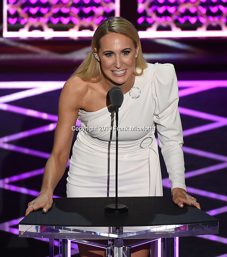 "BEVERLY HILLS - SEPTEMBER 7: Nikki Glaser appears onstage at the ""Comedy Central Roast of Alec Baldwin"" at the Saban Theatre on September 7, 2019 in Beverly Hills, California. (Photo by Frank Micelotta/PictureGroup)"