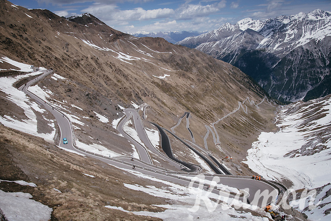 this years Cima Coppi: the famous Passo dello Stelvio (alt: 2758m)<br /> <br /> Stage 16: Rovett &rsaquo; Bormio (222km)<br /> 100th Giro d'Italia 2017