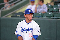 Chris Godinez (16) of the Ogden Raptors before the game against the Orem Owlz in Pioneer League action at Lindquist Field on June 18, 2015 in Ogden, Utah. This was Opening Night play of the 2015 Pioneer League season. (Stephen Smith/Four Seam Images)