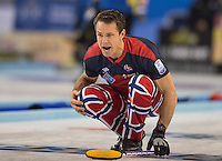 Glasgow. SCOTLAND. Norway's Thomas ULSRUD calling instructions to the sweepers during his delivery of the &quot;Stone&quot; &quot;Semi Final&quot; Norway vs Switzerland Game. Le Gruy&egrave;re European Curling Championships. 2016 Venue, Braehead  Scotland<br /> Thursday  24/11/2016<br /> <br /> [Mandatory Credit; Peter Spurrier/Intersport-images]