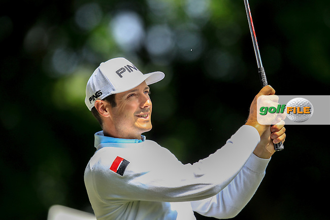 Julien Quesne (FRA) on the 2nd during the final round of the 2016 BMW PGA Championship. Wentworth Golf Club, Virginia Water, Surrey, UK. 29/05/2016.<br /> Picture Fran Caffrey / Golffile.ie<br /> <br /> All photo usage must carry mandatory copyright credit (&copy; Golffile | Fran Caffrey)