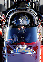 Sept. 5, 2010; Clermont, IN, USA; NHRA top fuel dragster driver David Grubnic during qualifying for the U.S. Nationals at O'Reilly Raceway Park at Indianapolis. Mandatory Credit: Mark J. Rebilas-