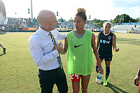 Cary, North Carolina  - Saturday August 19, 2017: Paul Riley and Estelle Johnson after a regular season National Women's Soccer League (NWSL) match between the North Carolina Courage and the Washington Spirit at Sahlen's Stadium at WakeMed Soccer Park. North Carolina won the game 2-0.