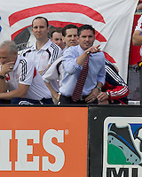 New England Revolution coach, Jay Heaps. In a Major League Soccer (MLS) match, DC United defeated the New England Revolution, 2-1, at Gillette Stadium on April 14, 2012.