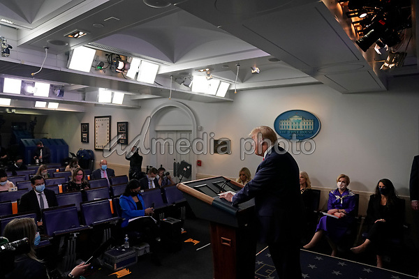 United States President Donald J. Trump speaks during a news conference in the Brady Press Briefing Room of the White House in Washington, D.C., U.S., on Friday, May 22, 2020. Trump didn't wear a face mask during most of his tour of Ford Motor Co.'s ventilator facility Thursday, defying the automaker's policies and seeking to portray an image of normalcy even as American coronavirus deaths approach 100,000. <br /> Credit: Andrew Harrer / Pool via CNP/AdMedia