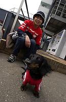Target Dog.Twin Ring Motegi, Motegi, Japan, April 2003                             .©F. Peirce Williams 2003..F. Peirce Williams .photography.P.O.Box 455 Eaton, OH 45320.p: 317.358.7326  e: fpwp@mac.com