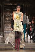 15 February 2014, London, England, UK. A model walks the runway at the Ashley Isham show during London Fashion Week AW14 at Fashion Scout/Freemasons' Hall.