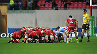 Racing 92 Xavier Chauveau places the ball into the scrum <br /> <br /> Photographer Ian Cook/CameraSport<br /> <br /> European Rugby Champions Cup - Scarlets v Racing 92 - Saturday 13th October 2018 - Parc y Scarlets - Llanelli<br /> <br /> World Copyright &copy; 2018 CameraSport. All rights reserved. 43 Linden Ave. Countesthorpe. Leicester. England. LE8 5PG - Tel: +44 (0) 116 277 4147 - admin@camerasport.com - www.camerasport.com