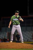 Eugene Emeralds relief pitcher Casey Ryan (24) looks in for the sign during a Northwest League game against the Salem-Keizer Volcanoes at Volcanoes Stadium on August 31, 2018 in Keizer, Oregon. The Eugene Emeralds defeated the Salem-Keizer Volcanoes by a score of 7-3. (Zachary Lucy/Four Seam Images)