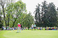 Jon Rahm (ESP) barely misses a birdie putt on 5 during round 3 of the World Golf Championships, Mexico, Club De Golf Chapultepec, Mexico City, Mexico. 3/4/2017.<br /> Picture: Golffile | Ken Murray<br /> <br /> <br /> All photo usage must carry mandatory copyright credit (&copy; Golffile | Ken Murray)