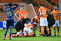 Blackpool's Nathan Delfouneso receives treatment for an injury<br /> <br /> Photographer Richard Martin-Roberts/CameraSport<br /> <br /> The EFL Sky Bet League One - Blackpool v Charlton Athletic - Tuesday 13th March 2018 - Bloomfield Road - Blackpool<br /> <br /> World Copyright &not;&copy; 2018 CameraSport. All rights reserved. 43 Linden Ave. Countesthorpe. Leicester. England. LE8 5PG - Tel: +44 (0) 116 277 4147 - admin@camerasport.com - www.camerasport.com