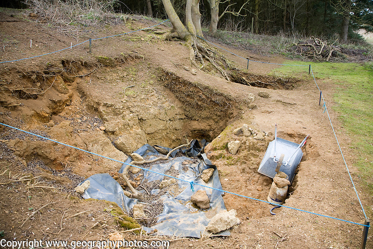 Geological excavation site at the Rockhall Wood Pit SSSI site, Sutton, Suffolk, England