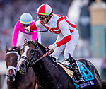 November 2, 2019: Bricks and Mortar, ridden by Irad Ortiz, Jr., wins the Longines Breeders' Cup Turf on Breeders' Cup World Championship Saturday at Santa Anita Park on November 2, 2019: in Arcadia, California. /7400534//Eclipse Sportswire/CSM