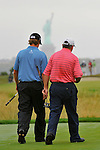 29 August 2009: Webb Simpson (L) and Paul Goydos (R) during the third round of The Barclays PGA Playoffs at Liberty National Golf Course in Jersey City, New Jersey.