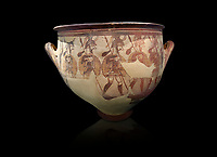 'House of Warriors Vase' : Pictoral Mycenaean Krater depicting Mycenaean soldiers in full armour, Mycenae Acropolis, 12th Cent BC.  National Archaeological Museum Athens. Cat no 1426.  Black Background<br /> <br /> This large pictoral Mycenaean Krater depicts Mycenaean soldiers full armed with helmet, cuirass, greaves, shield and spaer as they depart for war. This is a superb example of Mycenaean pictoral pottery