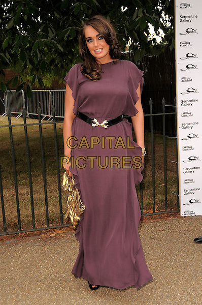 TAMARA ECCLESTONE .The Summer Party at The Serpentine Gallery, London, England. .July 9th, 2009 .full length purple dress long maxi black belt gold bag purse .CAP/CAS.©Bob Cass/Capital Pictures.
