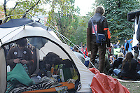 Occupy Toronto protest movement unidentified protesters at tent city St. Jame's Park Toronto, October 18, 2011