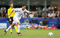 Calcio, finale di Champions League: Real Madrid vs Atletico Madrid. Stadio San Siro, Milano, 28 maggio 2016.<br /> Real Madrid&rsquo;s Cristiano Ronaldo prepares to score the winning penalty during the Champions League final match between Real Madrid and Atletico Madrid, at Milan's San Siro stadium, 28 May 2016. Real Madrid won 5-4 on penalties after the match ended 1-1.<br /> UPDATE IMAGES PRESS/Isabella Bonotto