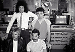 """Roger Taylor, Brian May,  John Deacon and Freddie Mercury of Queen attend Queen Press Conference for """"Hot Space"""" at Crazy Eddie's on July 27, 1982  in New York City."""