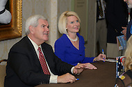October 7, 2011  (Washington, DC)   Newt Gingrich and wife sign books during the Values Voter Summit in Washington.  The Summit is organized by FRC Action, the non-profit legislative action arm of Family Research Council.   (Photo by Don Baxter/Media Images International)