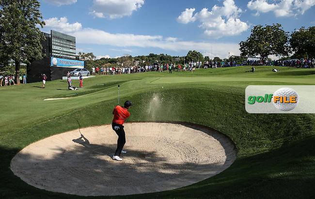Charl Schwartzel (RSA) finds the front bunker on the last during Round Three of the 2016 Tshwane Open, played at the Pretoria Country Club, Waterkloof, Pretoria, South Africa.  13/02/2016. Picture: Golffile | David Lloyd<br /> <br /> All photos usage must carry mandatory copyright credit (&copy; Golffile | David Lloyd)