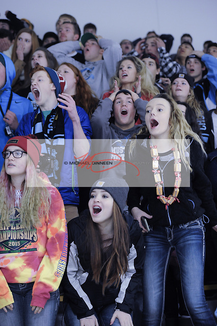 From left, Chugiak sophomores Alivia Bailey, Annika Sullivan and Madison Thompson lead a crowd of disappointed Chugiak supporters in the final moments of the Mustangs' 3-2 loss to Eagle River Dec. 5, 2015.  Photo for the Star by Michael Dinneen