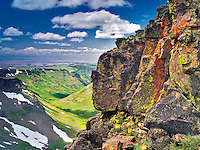 Lichen covered wall and L:ittle Blitzen Gorge. Steens Mountain Wilderness, Oregon