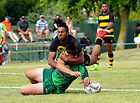 Manawatu v Taranaki men. 2017 Bayleys Central Regional Sevens at Playford Park in Levin, New Zealand on Saturday, 9 December 2017. Photo: Dave Lintott / lintottphoto.co.nz