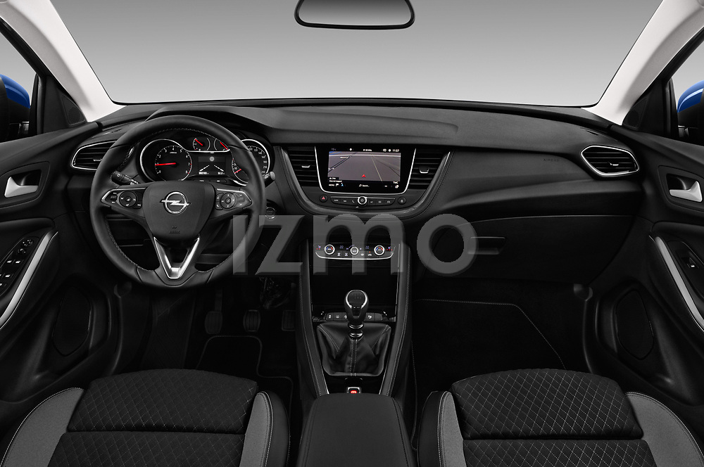 Stock photo of straight dashboard view of a 2018 Opel Grandland X Innovation 5 Door SUV